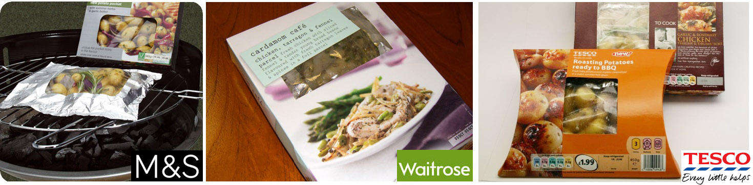 Fresh and frozen Cook-in bag meal solutions by Marks & Spencer, Waitrose and Tesco incorporating Qbag
